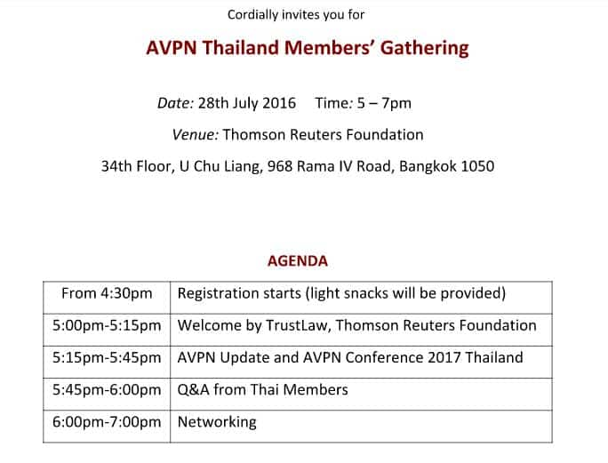 Event AVPN Thailand details