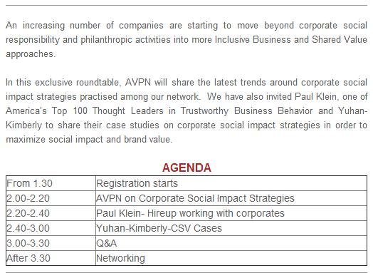 AVPN Event Korea Corporate Social Impact Strategy Rountable details