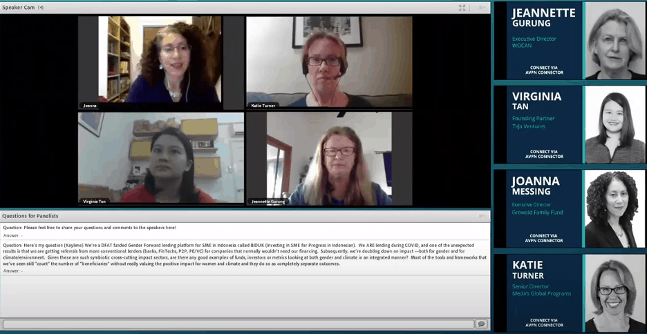 Panel Discussion at the AVPN Virtual Conference 2020, led by WOCAN - Bridging the Divide Between Climate and Gender Finance